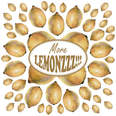 vitamine: Illustration with yellow lemons drawn by hand with colored pencil and with logotype in center. Drawing with crayons. Fresh tasty fruits painted from nature Stock Photo