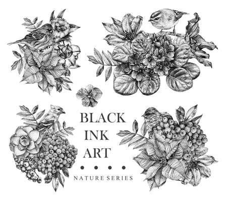 Conjunto de composições com flores pontilhadas, aves e plantas desenhadas à mão com tinta preta. Desenho gráfico, técnica de pontilhismo. Fundo floral em estilo dotwork. Preto e branco Foto de archivo - 92521325