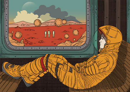 Girl on train. Vector illustration with astronaut traveling by rail on Mars. Martian landscape outside window. Colonization of red planet. Fantastic world of future Фото со стока - 93022076