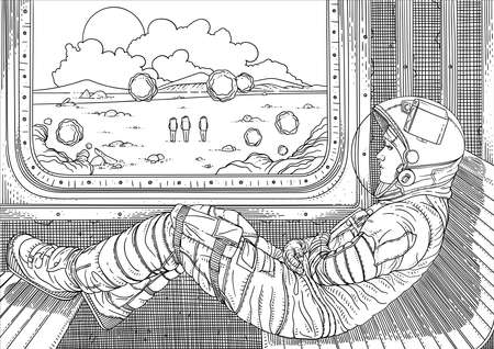 Girl on train. Vector illustration with astronaut traveling by rail on Mars. Martian landscape outside window. Colonization of new planet. Fantastic world of future. Black and white sketch.