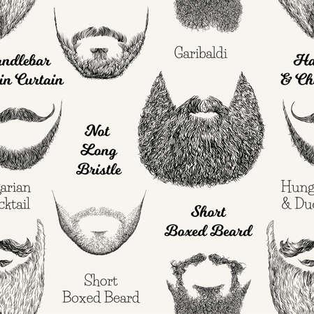 Modèle sans couture de vecteur avec la barbe et les moustaches. Illustration dessinée à la main avec des styles pour hommes à la mode.