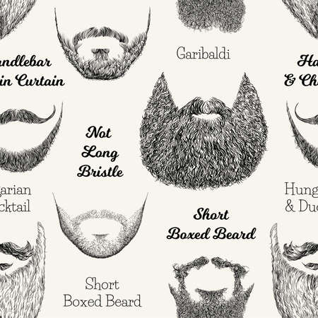 Vector nahtloses Muster mit Bärten und den Schnurrbärten. Hand gezeichnete Illustration mit den Arten der modernen Männer.