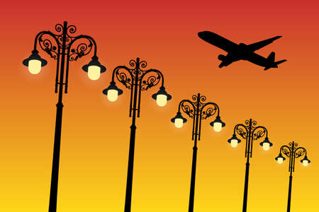 Flying aircraft and vintage lampposts at sunset. Vector illustration with silhouette of passenger airplane. Bright gradient background