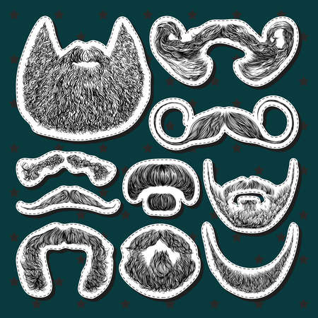 Set of vector stickers with beards and mustaches. Hand drawn illustration with fashionable men's styles. Linear Graphics Illustration
