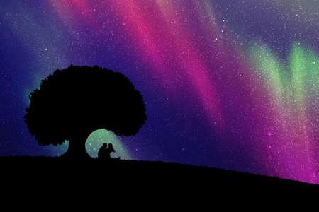 Amantes bajo el árbol por la noche. Ilustración de vector con silueta de pareja amorosa. Aurora boreal en el cielo estrellado
