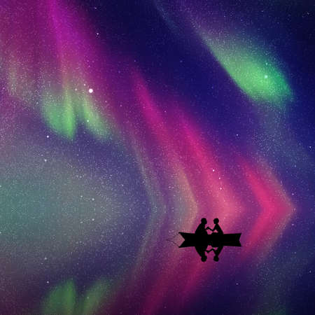 Lovers in boat at night. Vector illustration with silhouette of loving couple. Northern lights in starry sky Vector Illustratie
