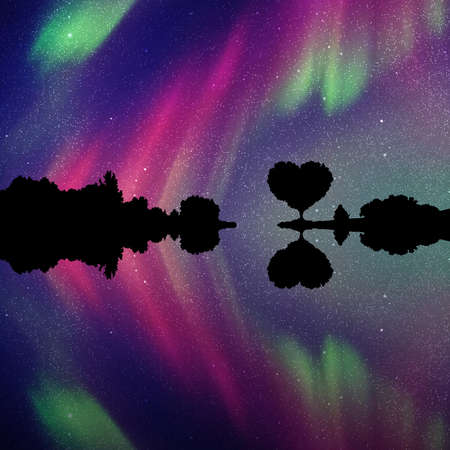 Romantic landscape at night. Vector illustration with silhouette of tree in shape of heart. Northern lights in starry sky Standard-Bild - 112204102