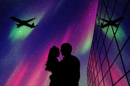 Lovers in Aeroport at night. Vector illustration with silhouette of loving couple and flying aircraft. Northern lights in starry sky