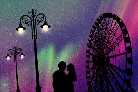 Lovers in amusement park at night. Vector illustration with silhouette of loving couple, vintage lampposts and Ferris wheel. Northern lights in starry sky