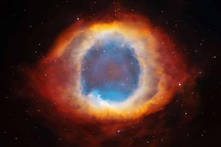 Illustrazione vettoriale con nebulosa elica. Nebulosa planetaria nello spazio profondo. Sfondo colorato astratto Vettoriali
