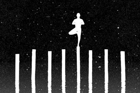 Yoga at night. Vector illustration with silhouette of yogi standing on log under starry sky. Inverted black and white
