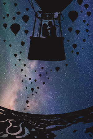 Lovers in balloon at night. Vector illustration with silhouette of loving couple under starry sky. Landscape with hot air balloons flying over rivers and lakes Illustration