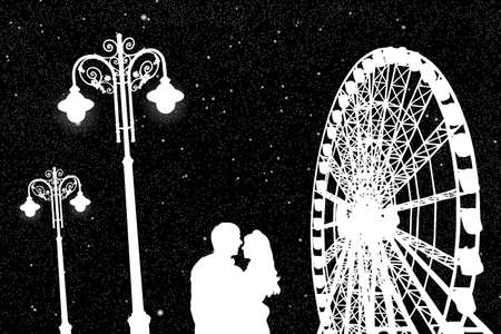 Lovers in amusement park at night. Vector illustration with silhouette of loving couple under starry sky. Vintage lampposts and Ferris wheel. Black and White Illustration