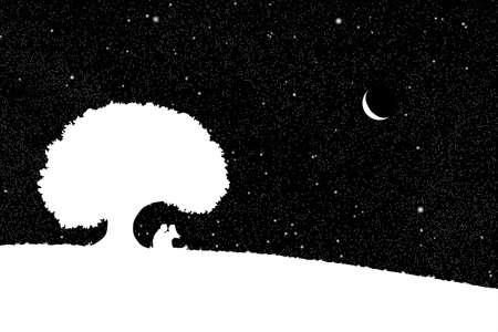 Vector illustration with silhouette of loving couple under starry sky. Can be used as postcard, illustration Vektoros illusztráció