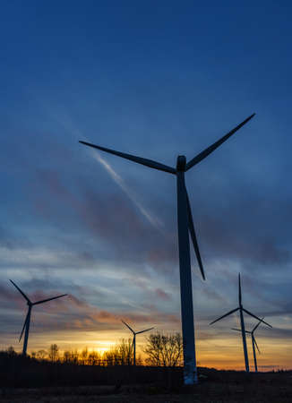 turbin: silhouettes of wind turbines with a beautiful sunset Estonia Paldiski