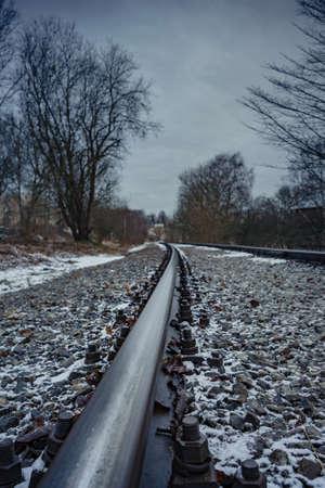 old railroad tracks, in city Tallinn Estonia kopli