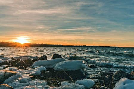 winter sunset on the baltic sea, Estonia Tallinn