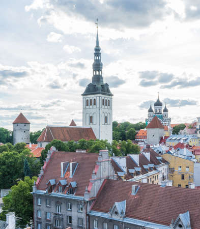 blue green background: View of old churches, In the city of Estonia Tallinn