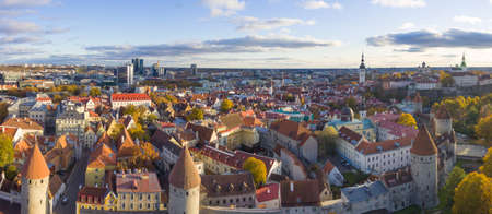 Aerial view of the old town of Tallinn Estonia Stock Photo