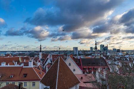 TALLINN, ESTONIA - 24.12.2017:View of the city Tallinn, Estonia with drone Editorial