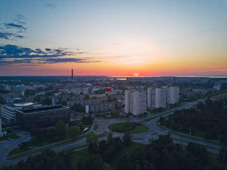 Aerial view of City Tallinn Estonia district Mustamjae