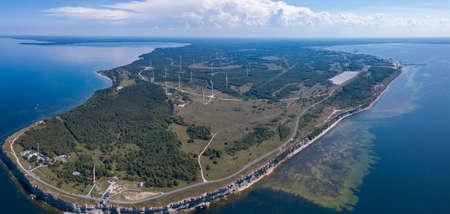 Aerial view of Wind power stations, Paldiski, Peninsula Pakri, Estonia
