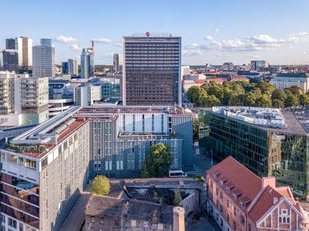 Estonia, Tallinn - August 08, 2018: Aeriel view of Rotermanni quarter Tallinn Estonia