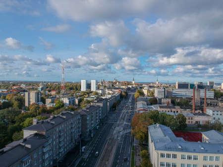 aerial view of street in city Tallinn Estonia Stock Photo