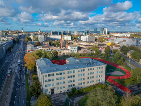 aerial view of street in city Tallinn Estonia Stock Photo
