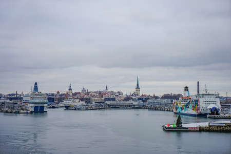 TALLINN, ESTONIA - DEC 31.2018 View of city Tallinn Estonia and cruises ships, from Baltic sea