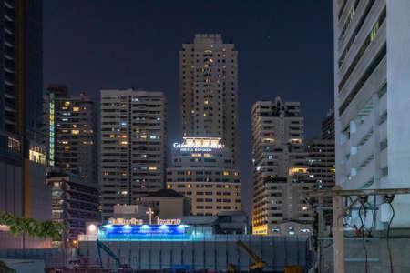 BANGKOK, THAILAND - Mart, 2019: View from roof to night city In BANGKOK THAILAND.