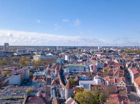 Aerial view of old city of Tallinn Фото со стока