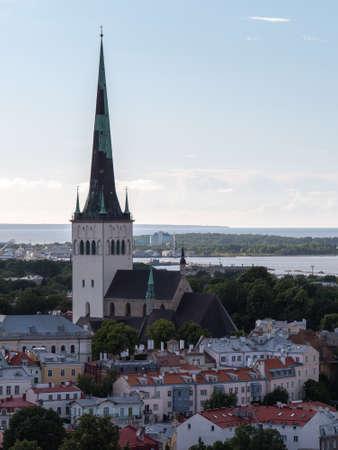 Aerial view of city Tallinn Estonia business district