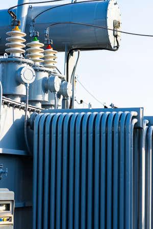 High voltage power transformer substation high voltage generator at evening or early morning outdoor shot Banco de Imagens