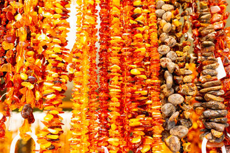 Palanga Lithuania june 27 2020 Amber beads of various colors for sale on lithuanian outdoor market.