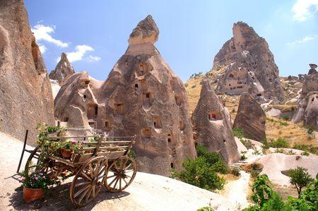 old wood farm wagon: mountain in Turkey