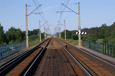 perspectiva lineal: Ra�les de la v�a - Polonia, Varsovia-Wyszkow