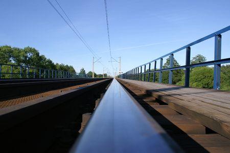 perspectiva lineal: Realizar un seguimiento de los rieles - Polonia, Varsovia-Wyszkow