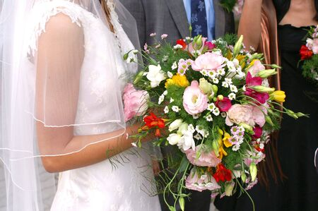 Bride Holding Bouquet Stock Photo - 3104419