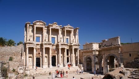 social history: Facade of the Library of Celsus Stock Photo