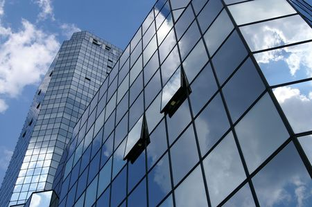Glass building front, cloudy sky, Bank square photo
