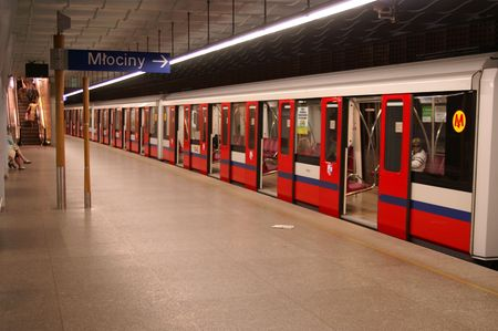 Subway arriving at station from Warsaw Stock Photo