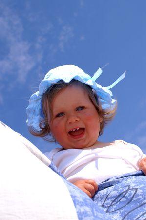 exult: babygirl exult on the beach Stock Photo