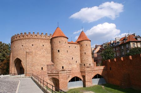 defensive: Defensive walls surrounding Old Town in Warsaw, Poland. Stock Photo