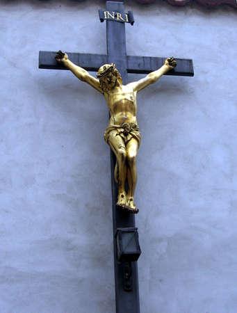 Crucifix_blue background Banco de Imagens