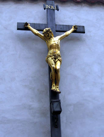 Crucifix_blue background Banco de Imagens - 275904