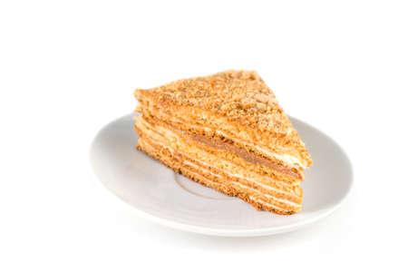 honey cake: Russian honey cake, medovik. Isolated Stock Photo