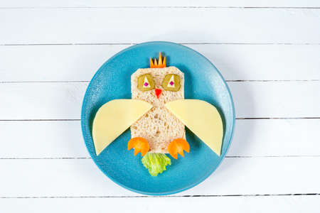 Breakfast for kids: funny healthy sandwich on plate Stock Photo