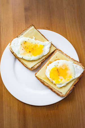sunny side: Sunny side up egg on toasted bread with cheese. Breakfast on table
