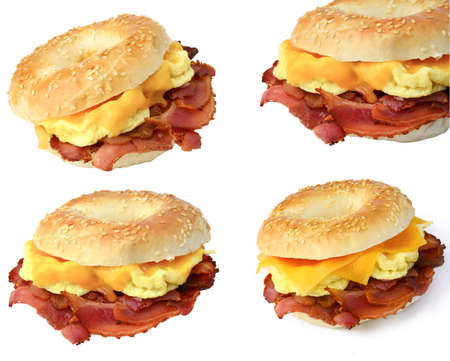 Set of 4 various images of breakfast bagel sandwich with omelet, bacon and cheddar cheese, isolated